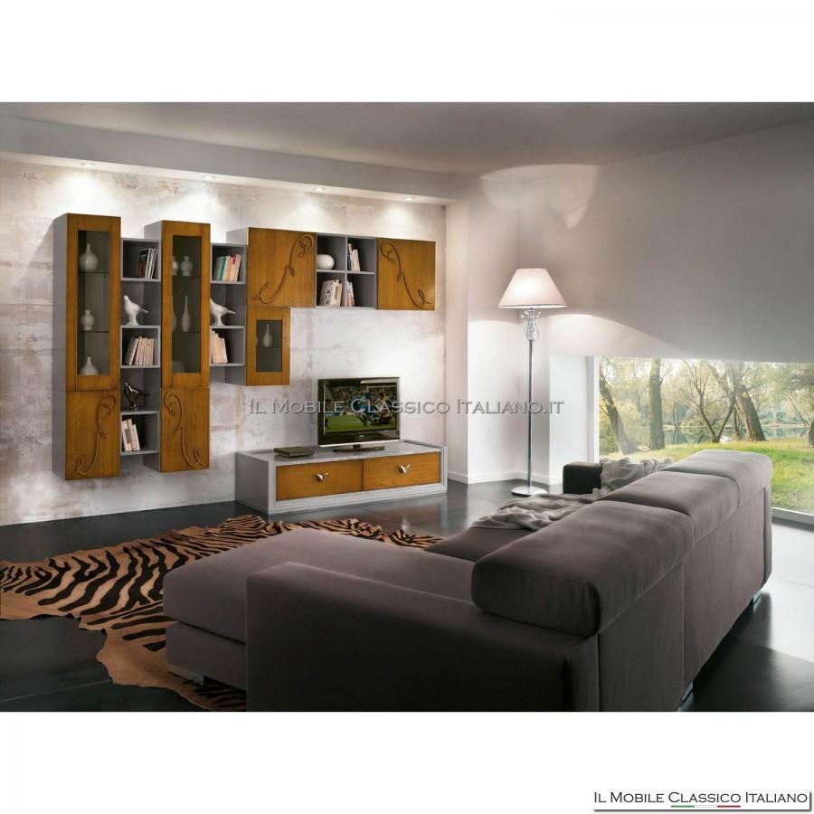 Parete attrezzata porta tv lcd plasma soggiorno art 4013 m in frassino spazzolato con decoro - Pareti attrezzate porta tv ...