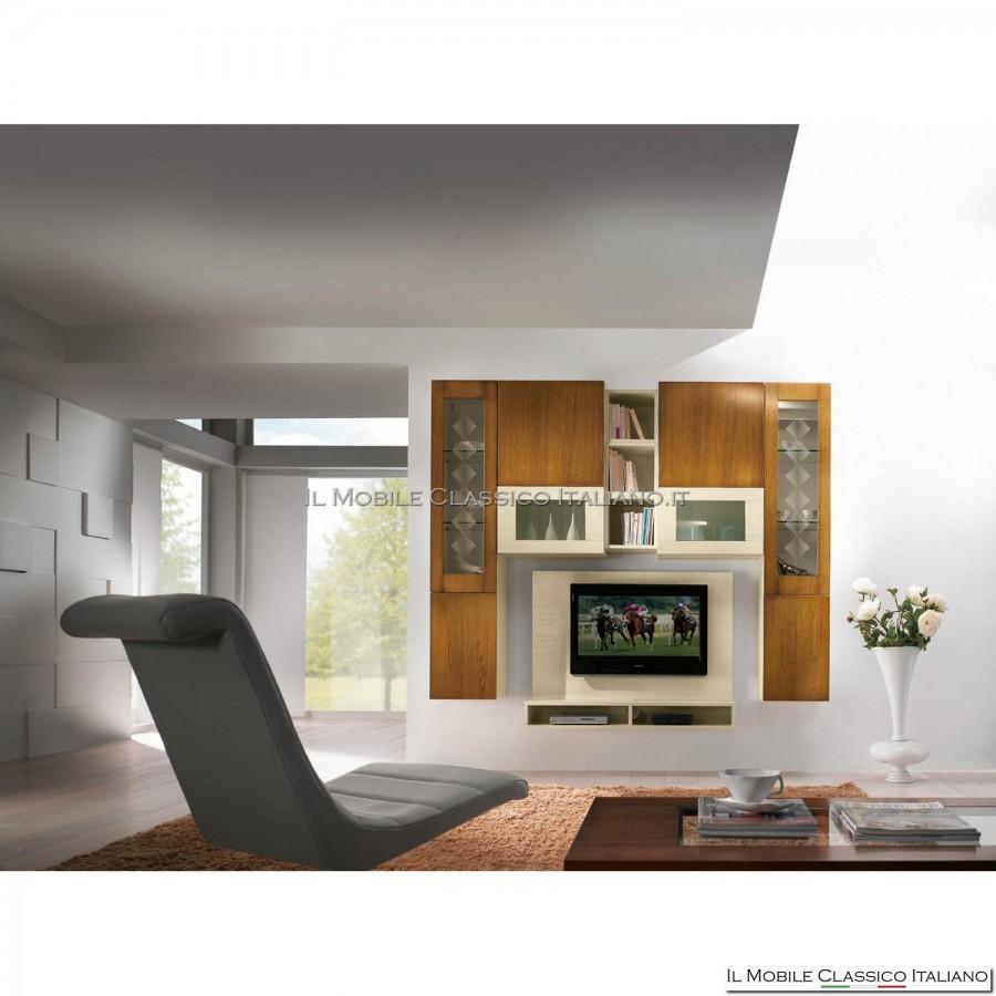 Parete attrezzata porta tv lcd plasma soggiorno art 4012 in frassino spazzolato - Pareti attrezzate porta tv ...