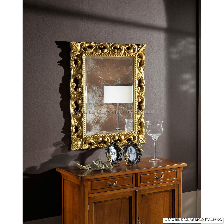 Specchio Con Cornice Barocca Artigianale Con Intarsi In Legno