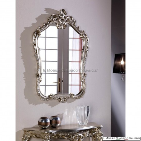 Specchio barocco foglia argento