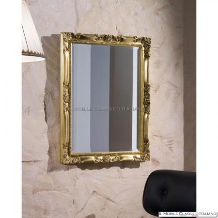 Specchiera rettangolare barocca foglia oro