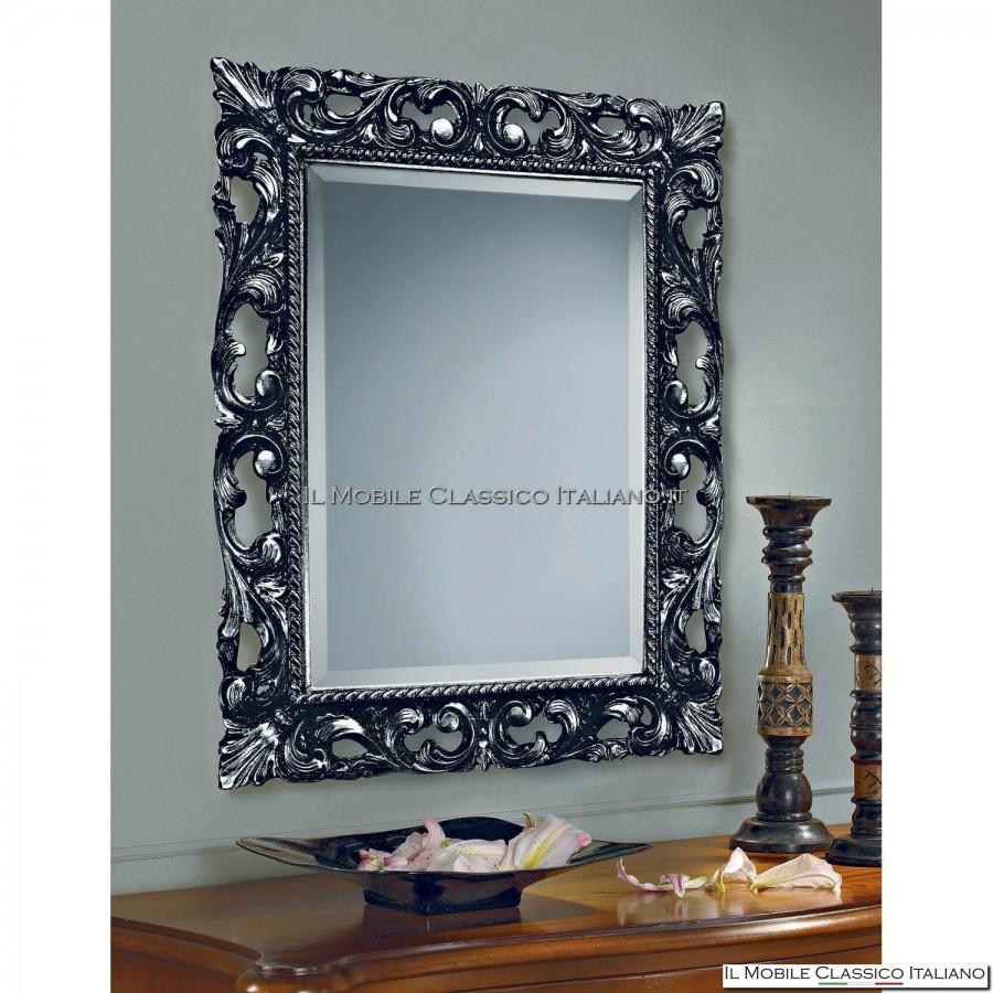 Specchiera specchio barocco rettangolare cornice intagliata cod 1261 - Specchio cornice nera ...