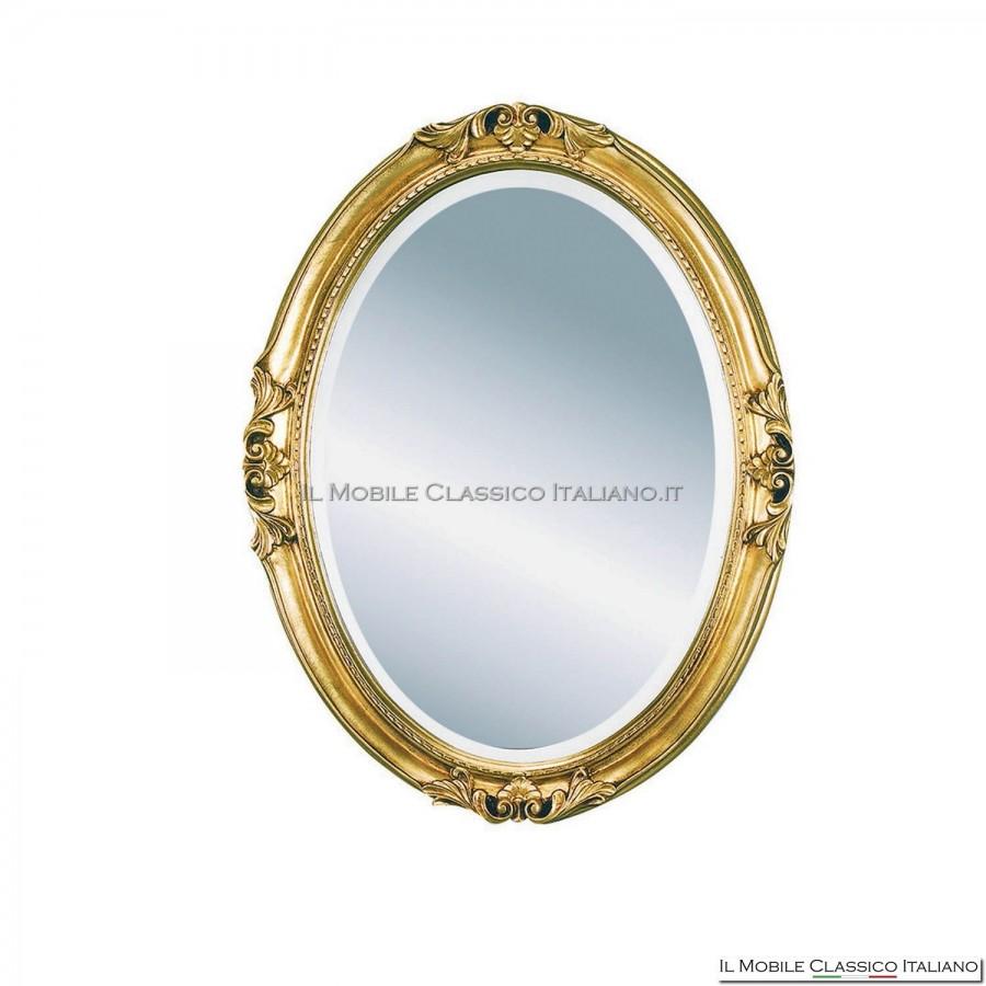 Specchiera specchio barocco ovale cornice intagliata cod 1651 for Specchi barocchi