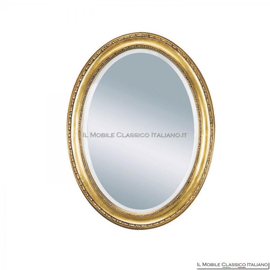 Specchiera specchio barocco ovale cornice intagliata cod 1670 for Specchi barocchi