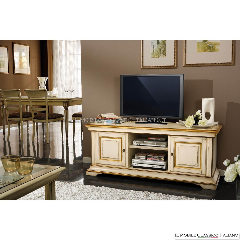 Porta Tv classico intarsio dorato - Porta tv in legno massello