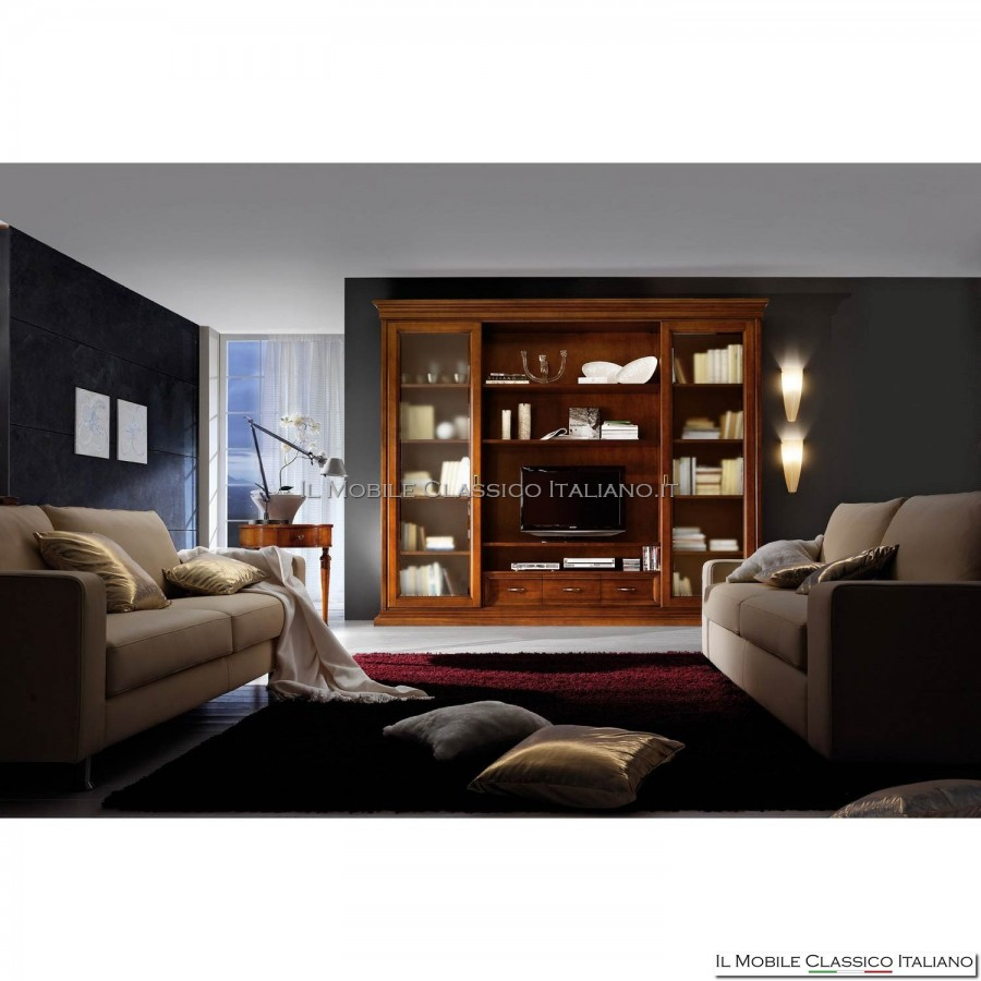 Parete attrezzata classica con libreria porta tv liscia pareti attrezzate classiche - Mobile libreria a parete ...