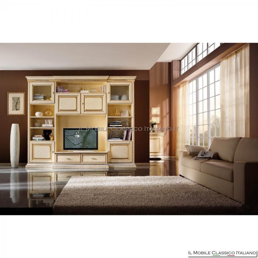 Parete attrezzata soggiorno classica mobili classici in legno massello - Mobili tv classici ...
