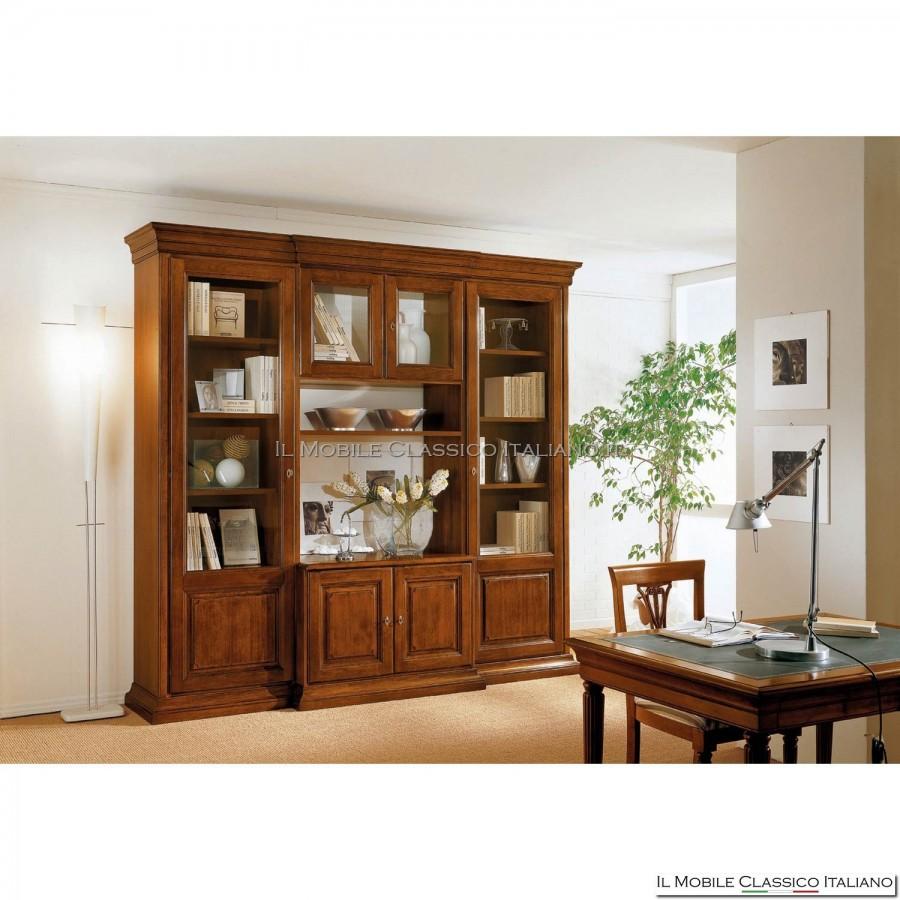 Parete attrezzata classica a vetrina classica salotto classico legno massello - Mobili da muro ...