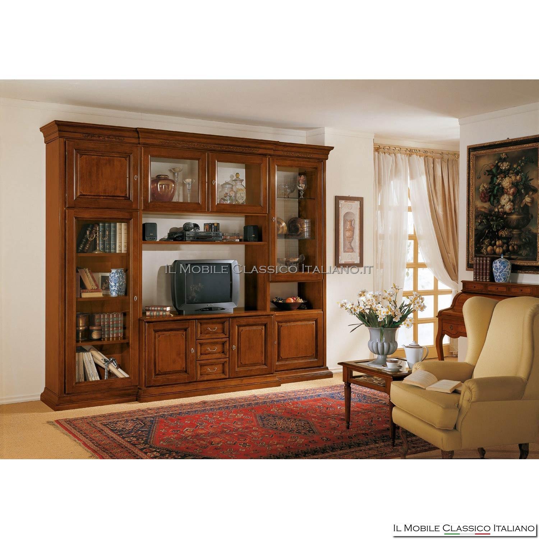 Porta tv e libreria classica in legno massello - Prezzo basso