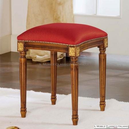 Pouff sgabello imbottito in legno massello art. 286