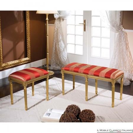 Pouff sgabello imbottito in legno massello art. 278