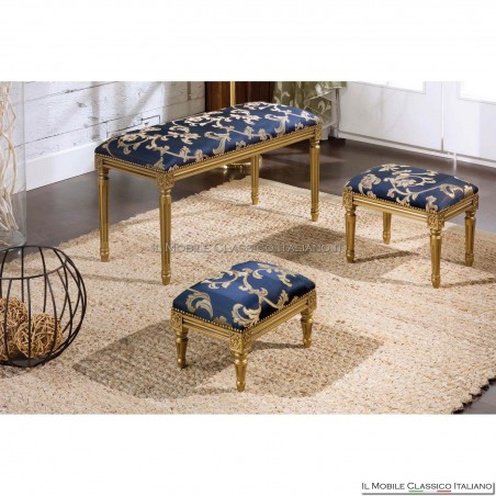 Pouff sgabello imbottito in legno massello art. 279