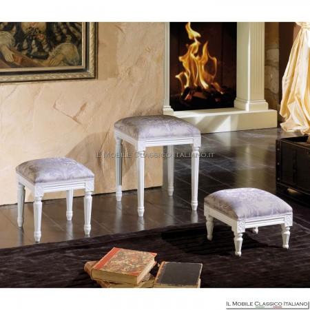 Pouff sgabello imbottito in legno massello art. 267
