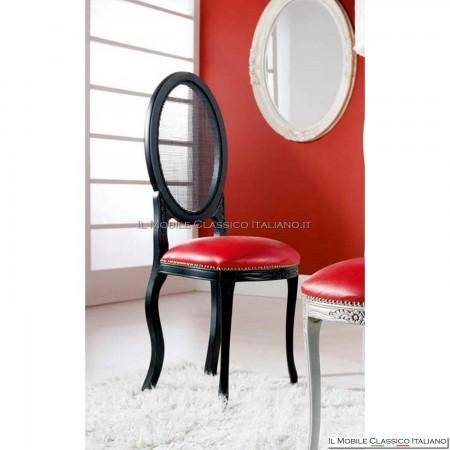 Sedia imbottita in legno massello art. 226 schienale paglia