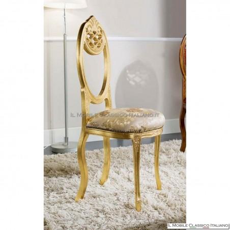 Sedia imbottita in legno massello art. 227 foglia oro