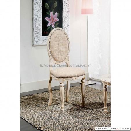 Sedia imbottita in legno massello art. 223/GT gamba tornita