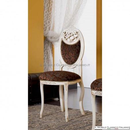 Sedia imbottita in legno massello art. 230 schienale tappezzato retro legno