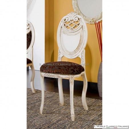 Sedia imbottita in legno massello art. 231 schienale massello