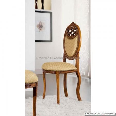 Sedia imbottita in legno massello art. 229 schienale imbottito