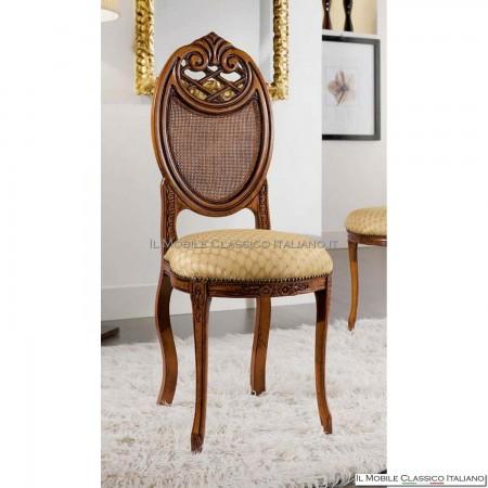 Sedia imbottita in legno massello art. 228 schienale paglia