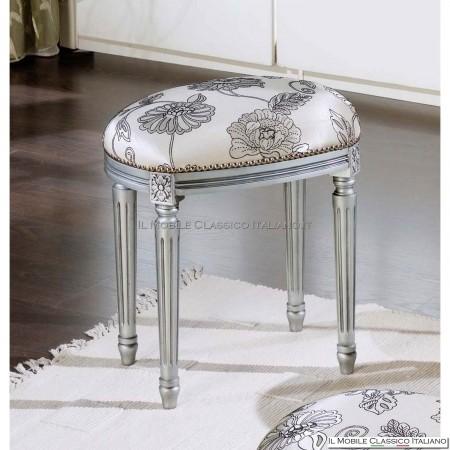 Pouf argento in stile classico