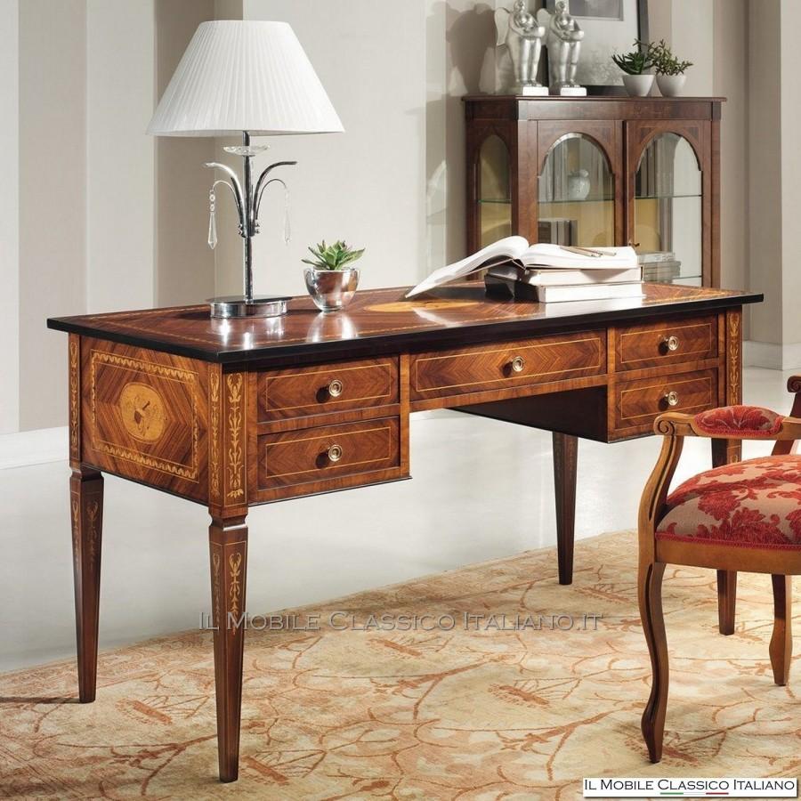 Scrivania intarsiata maggiolini in bois de violette for Scrivanie mobili