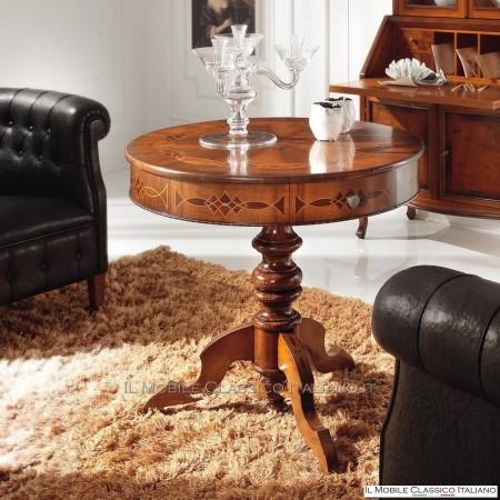 Tavolino in piuma di Noce con intarsio e due cassetti cod. 701
