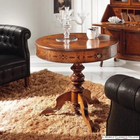 Tavolino in piuma di Noce classico rotondo