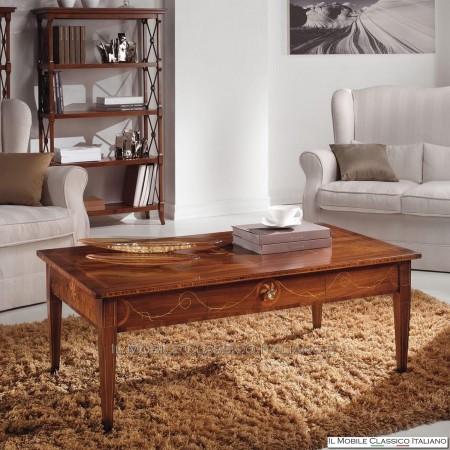 Tavolino rettangolare con cassetto in Noce e Bois de Rose con intarsio cod. 595