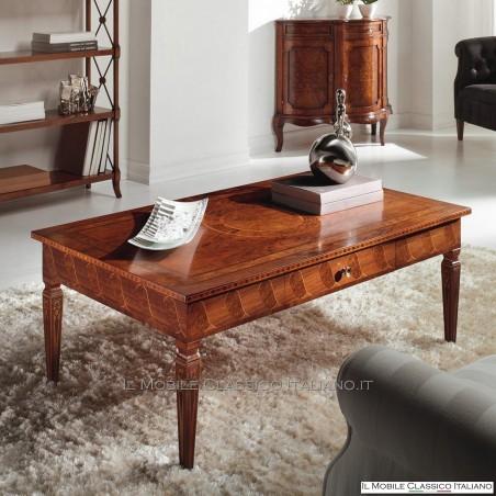 Tavolino rettangolare in Noce e radica di Rovere con 1 cassetto cod. 596