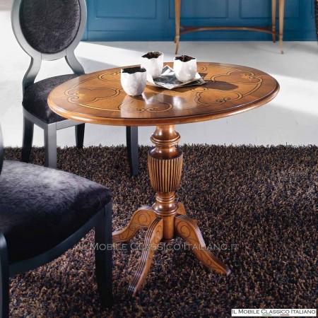Tavolino ovale intarsiato classico