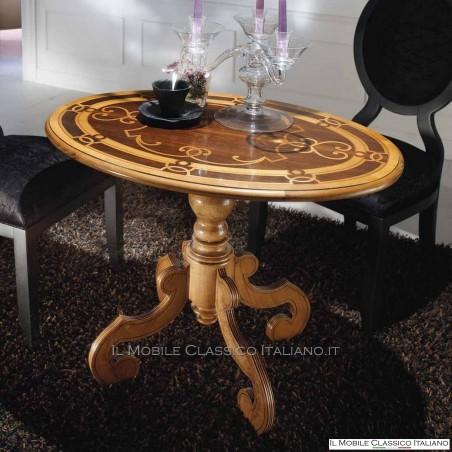 Tavolino classico da salotto ovale intarsiato