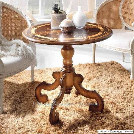 Tavolino rotondo classico decorato
