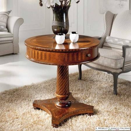 Tavolino classico rotondo in Noce con intarsio