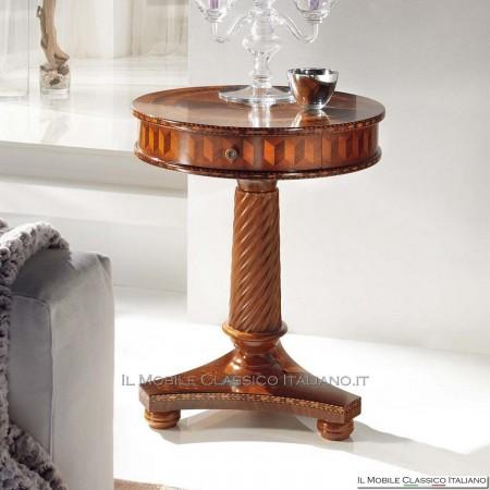 Tavolino rotondo in Noce con intarsio cod. 697