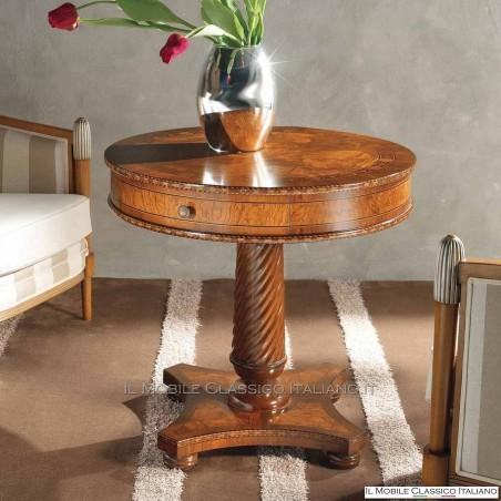 Tavolino rotondo in radica di Frassino olivato con intarsio e cassetto cod. 696