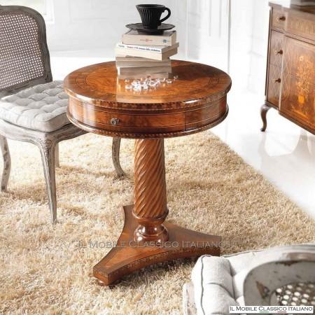 Tavolino rotondo in radica di Frassino olivato con intarsio e cassetto cod. 699