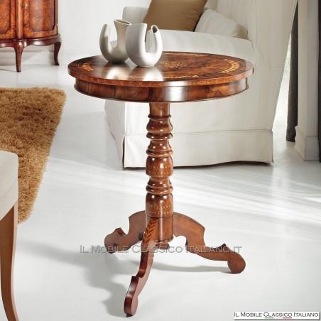 Tavolino rotondo radica Noce Persia con intarsio treccia cod. 581