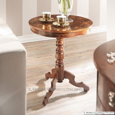 Tavolino rotondo con intarsio radica Noce Persia con intarsio Acero cod. 582