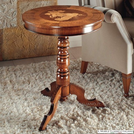 Tavolino rotondo con intarsio San Giorgio cod. 529