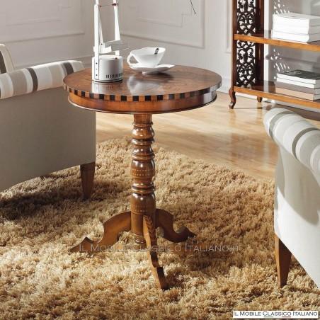 Tavolino rotondo classico con filetti e decoro