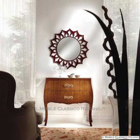 Specchiera fiori in legno artigianale