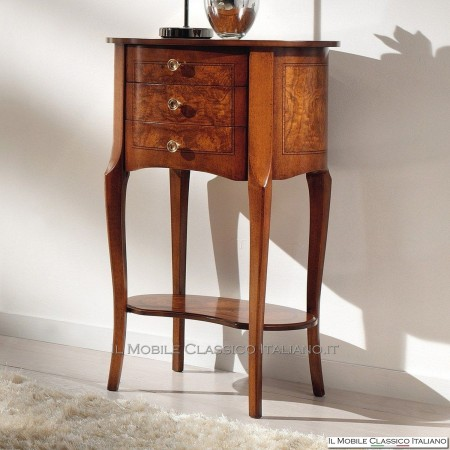 Tavolino sagomato a 3 cassetti in radica di Frassino