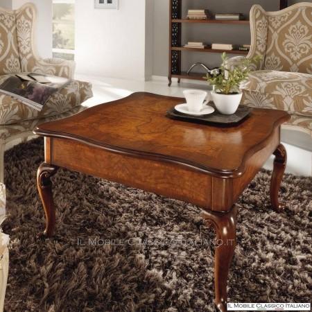 Tavolino quadrato in radica di Frassino