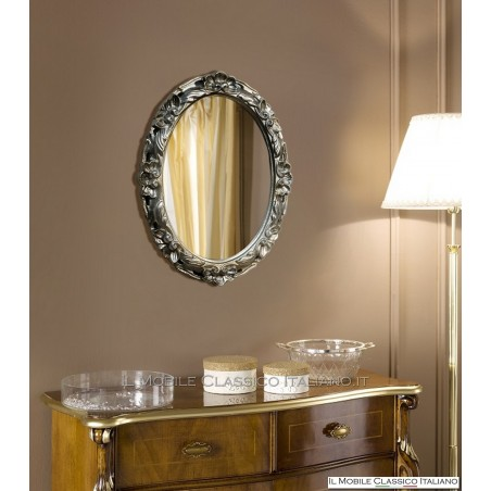 Specchio intagliato con cornice ovale argento 70054
