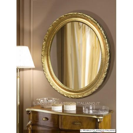 Specchio da parete ovale foglia oro 70055 74x64