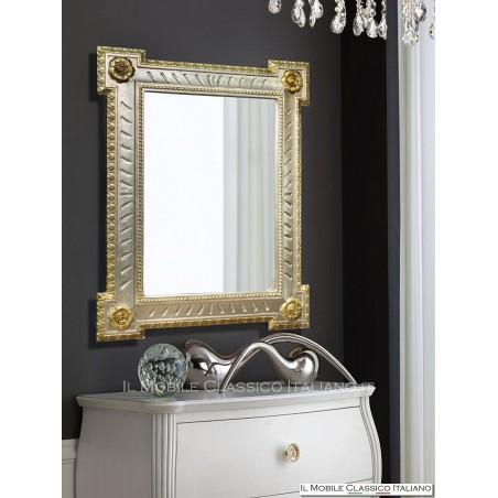 Specchio decorativo rettangolare con cornice in foglia 70059