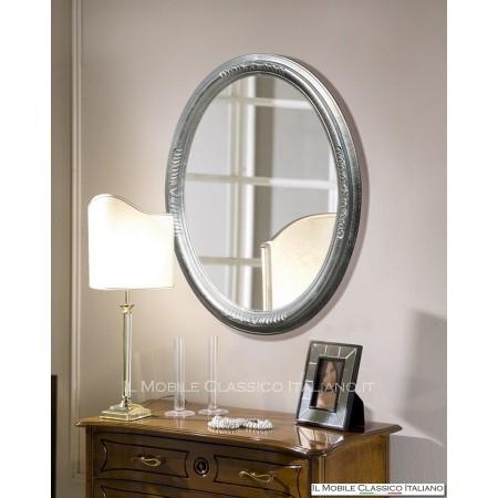 Specchio contemporaneo ovale foglia argento 70066
