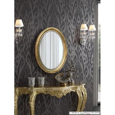 Specchio contemporaneo ovale foglia oro 700673