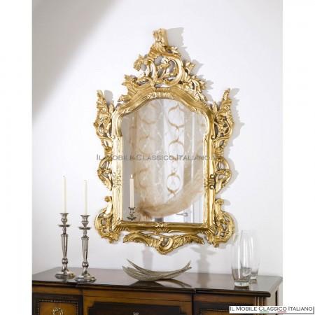 Specchiera barocca da camera da letto foglia oro 70115